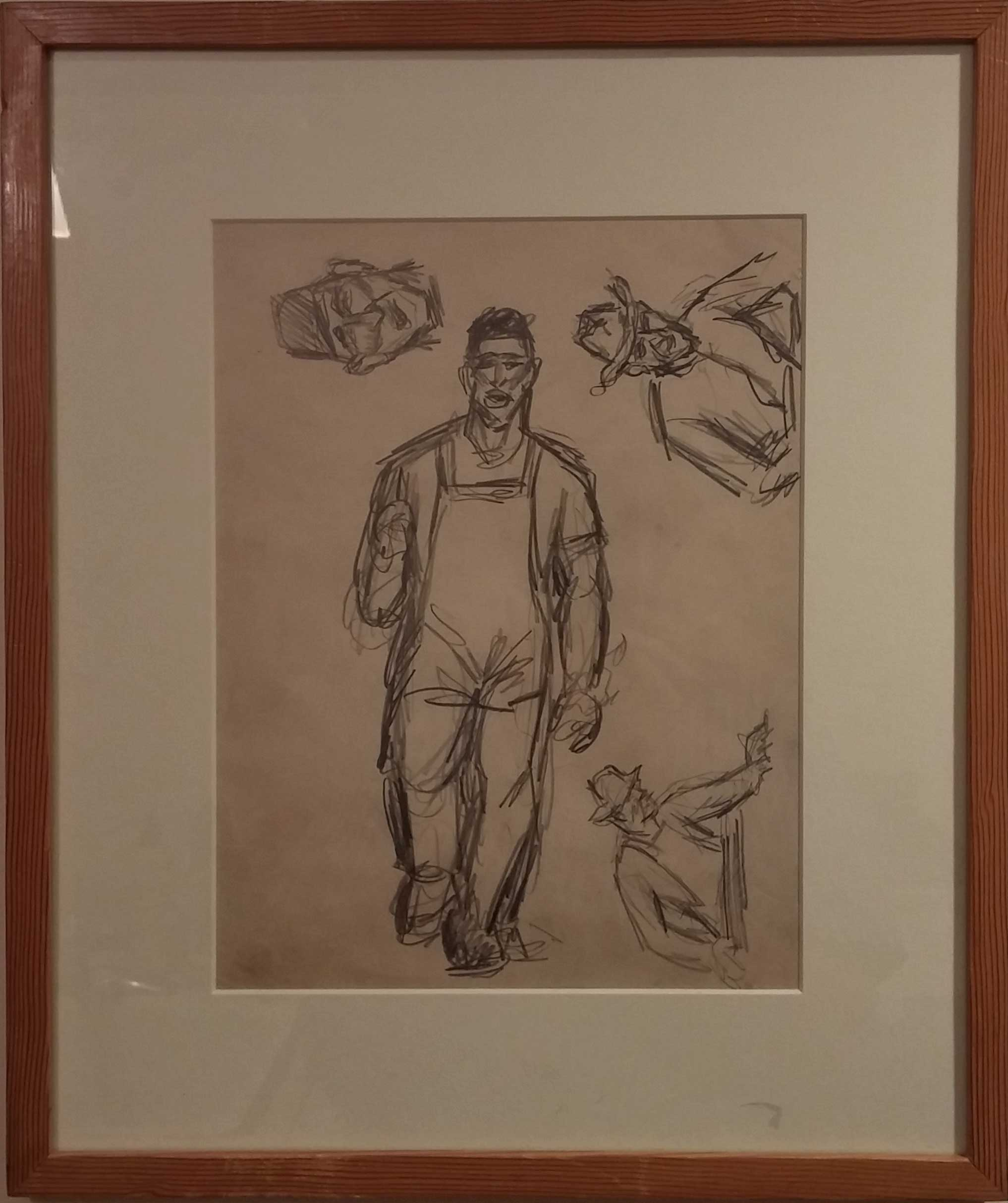 Shipyard Worker II,  pencil sketch, 14x17  Pathways Private Collection