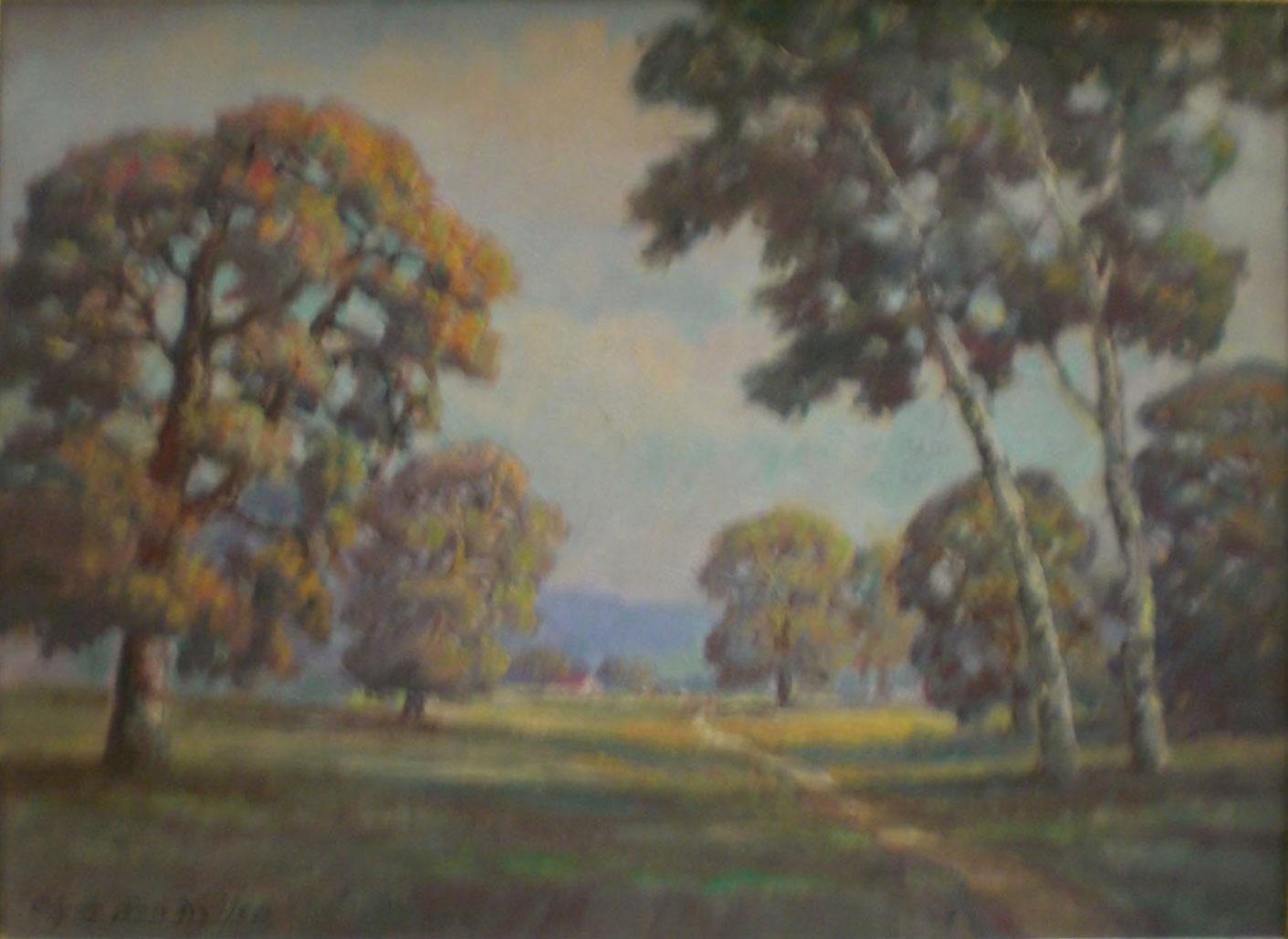 Walking Path,  oil, 27x20 $2,000  Clyde Leon Keller