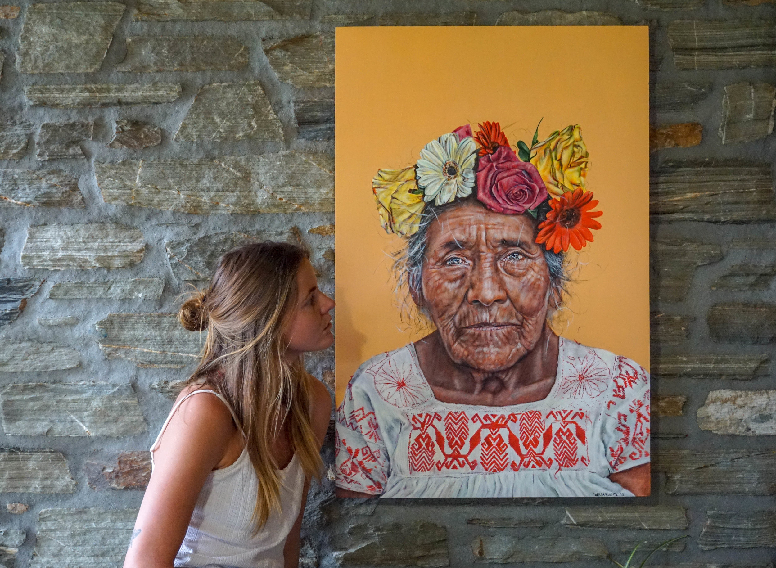 Sierra Roberts, Wanaka, with one of her pieces from 'The Flower Girls', opening September 27