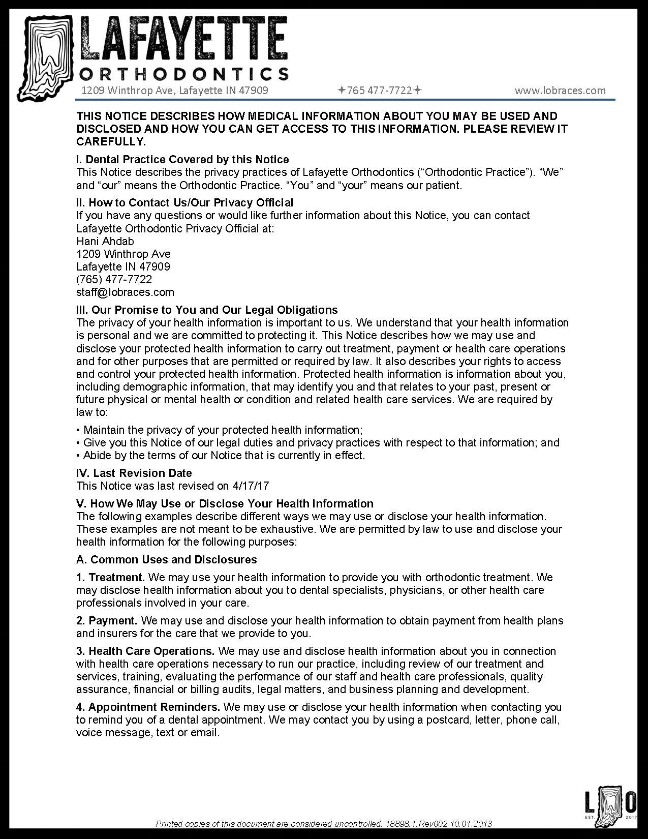 HIPPA- PLEASE READ AND SIGN HIPPA ACKNOWLEDGEMENT FORM