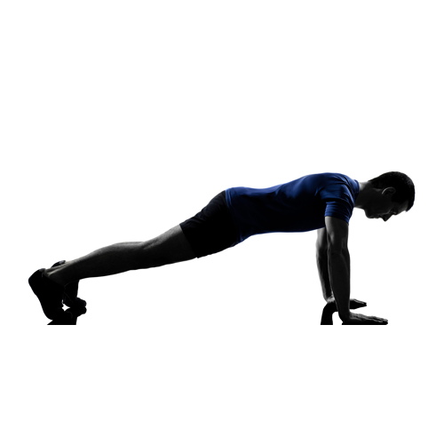 PLANK - START POSITION: Facing the floor on hands and knees, position the hands under shoulders and knees under hips.MOVEMENT: Extend one leg at a time, supporting the body into a full plank or push-up position. The body should make a straight line from head, shoulders, hips, knees and ankles. Hold the position for a goal of 30 to 60 seconds while breathing in and out. Repeat 3 times.