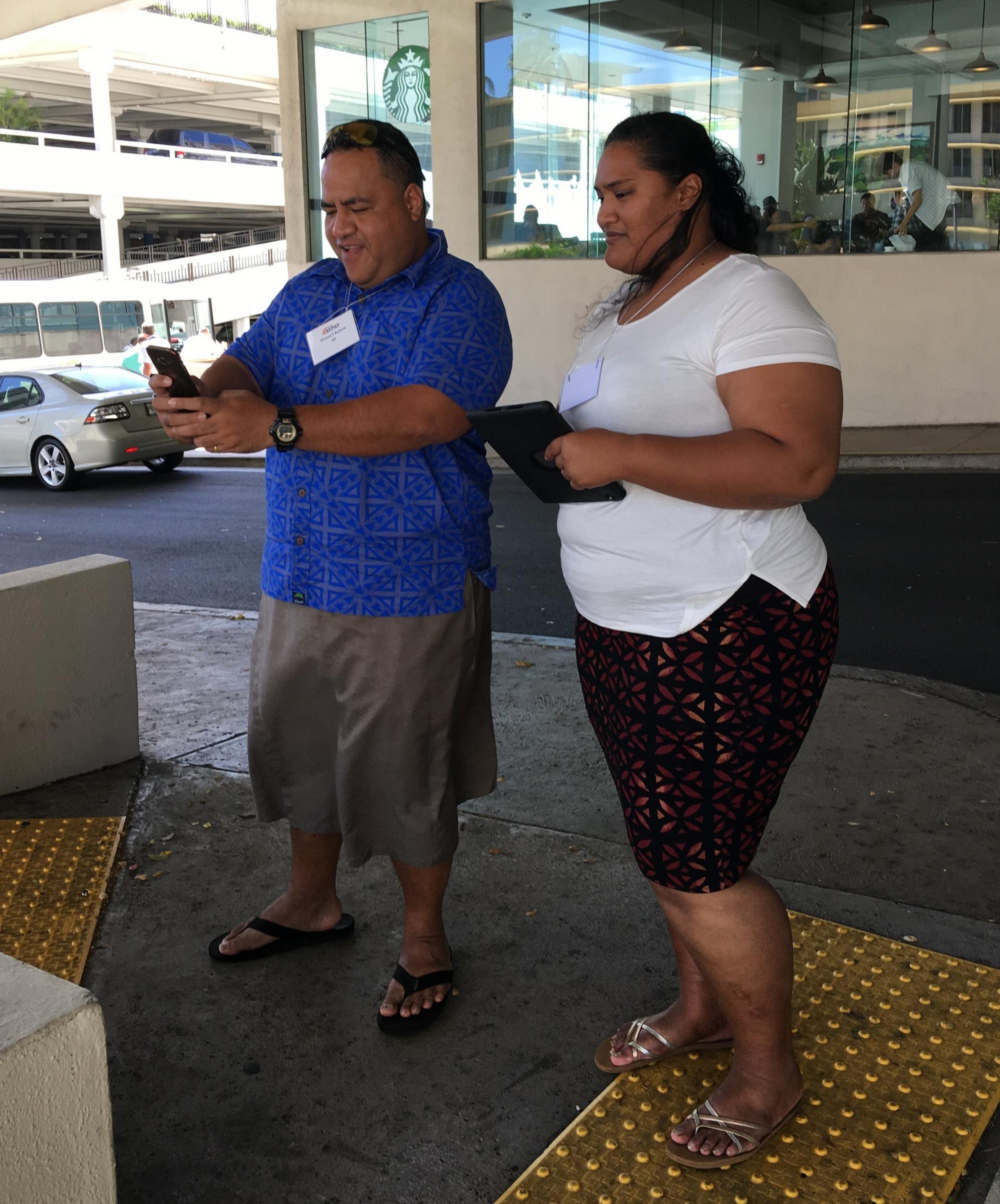 Onasai'i Aulava & Ruta Ropeti from American Samoa learning to use Fulcrum
