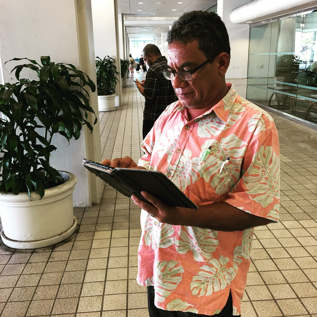 John Tagabuel from the Commonwealth of the Northern Mariana Islands learning to use Fulcrum