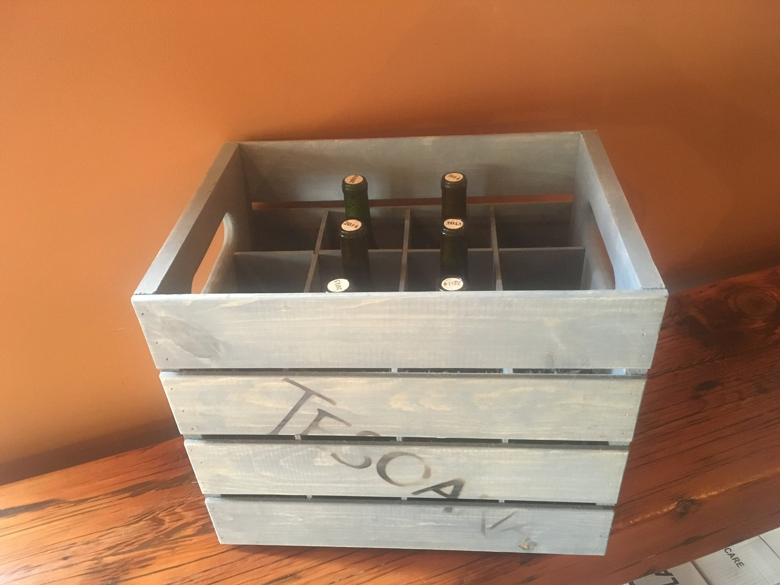 Branded wine crate.
