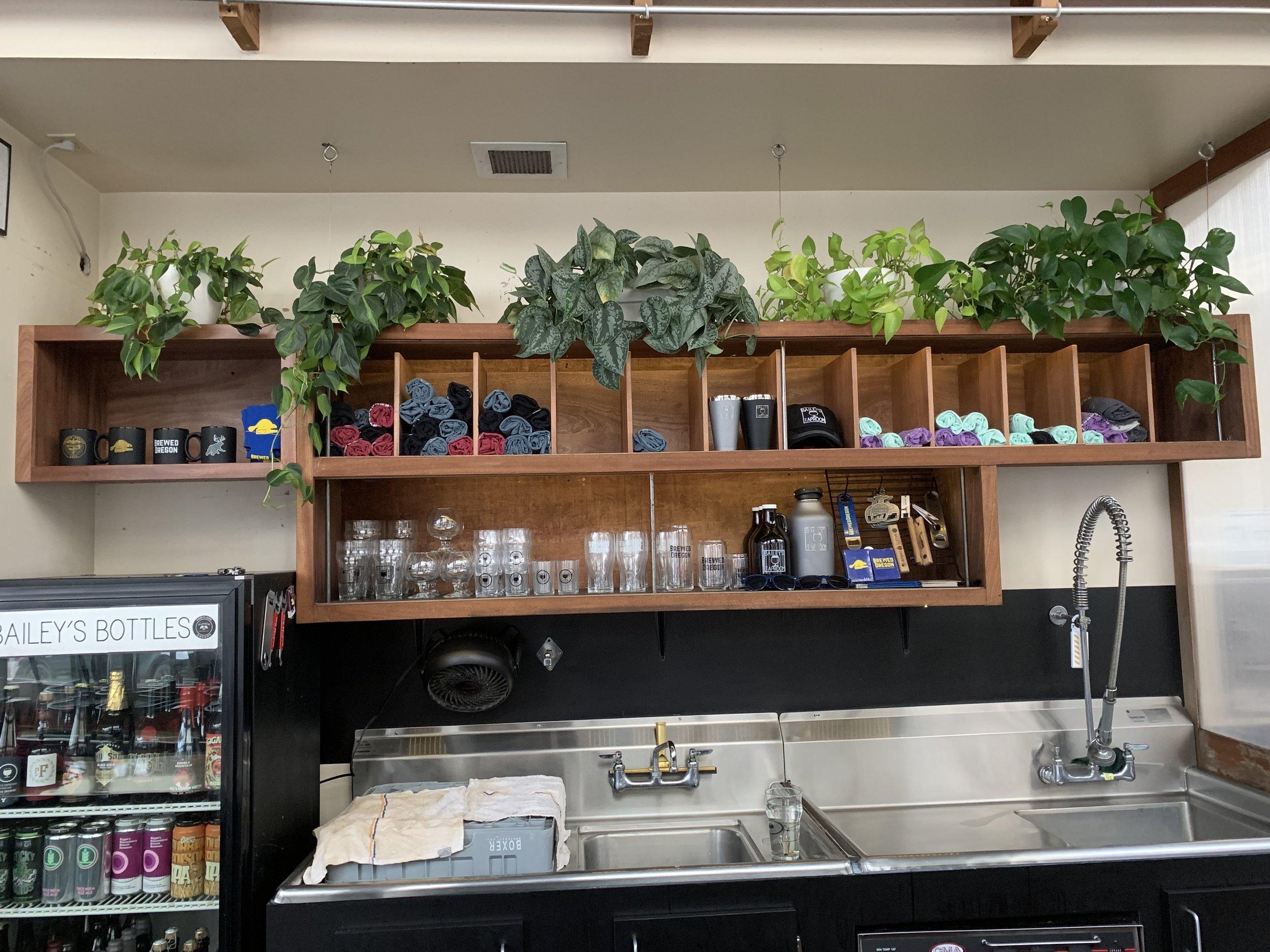 added dividers to upper shelf and cabinet on left side above fridge