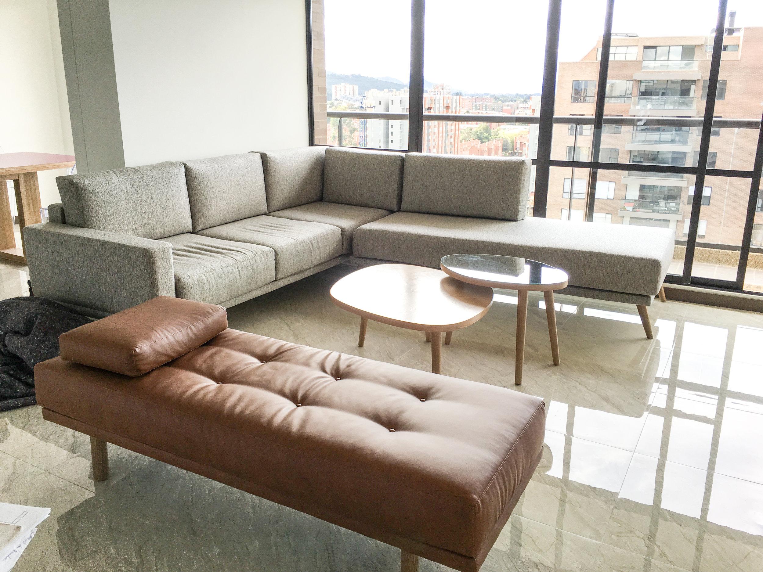 Living Room With Modular Sofa and Caramel Bench