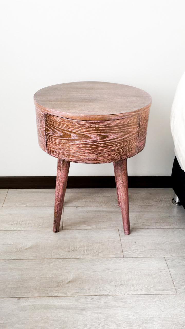 Rounded Wash Pink Finished Side Table