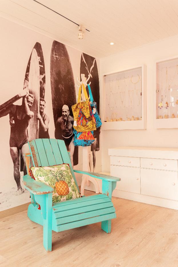 Beach Aqua Wood Chair
