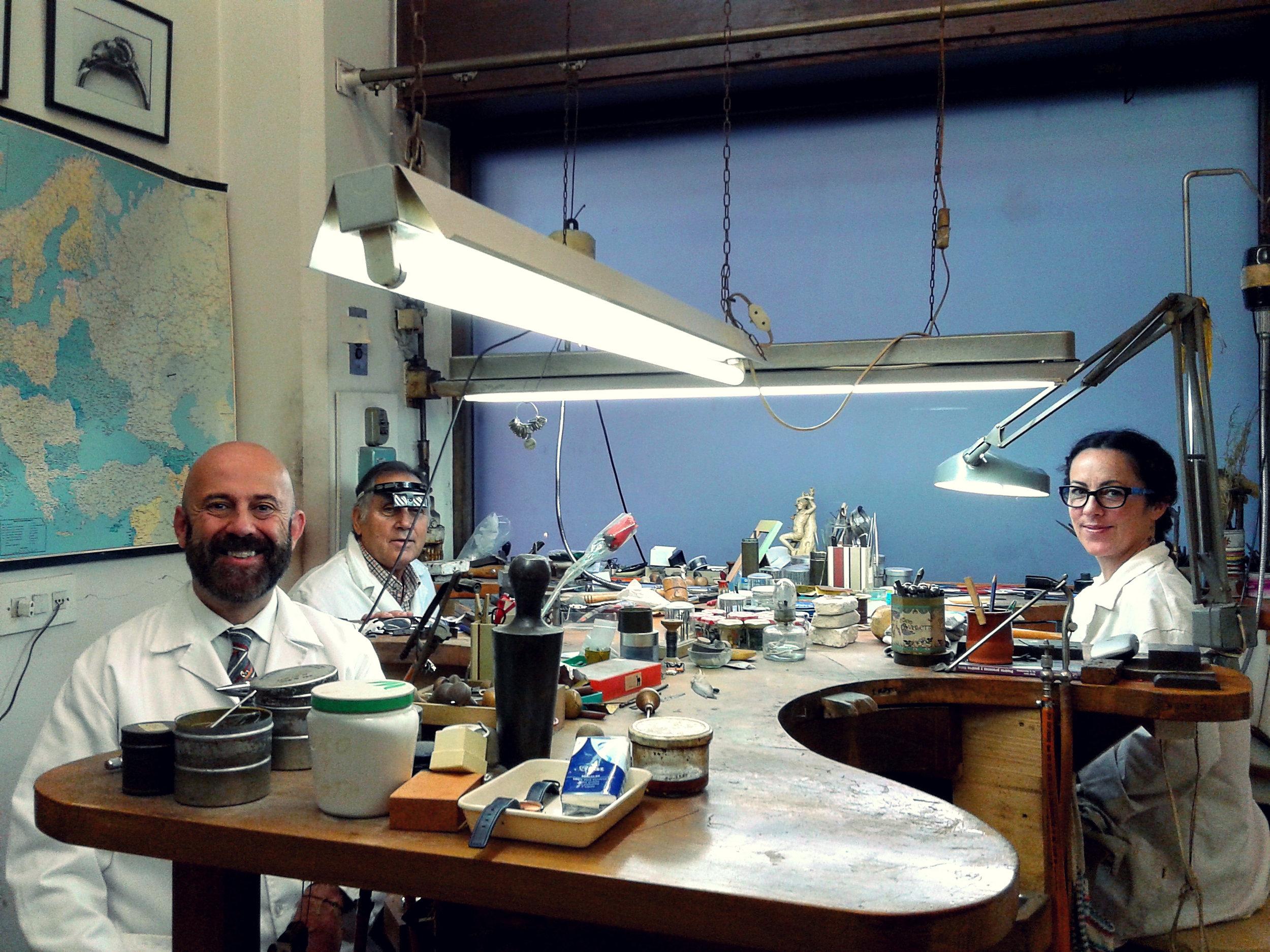 Claudio in his jewelry workshop