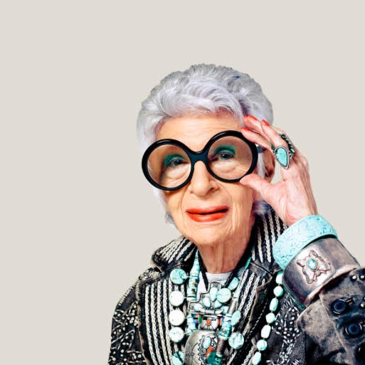 Stephanie's jewelry icon, Iris Apfel