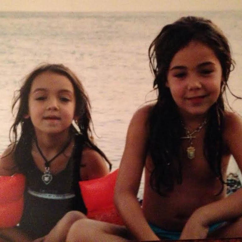 Oren (L) & Yarden (R) as children, wearing their chunky antique necklaces