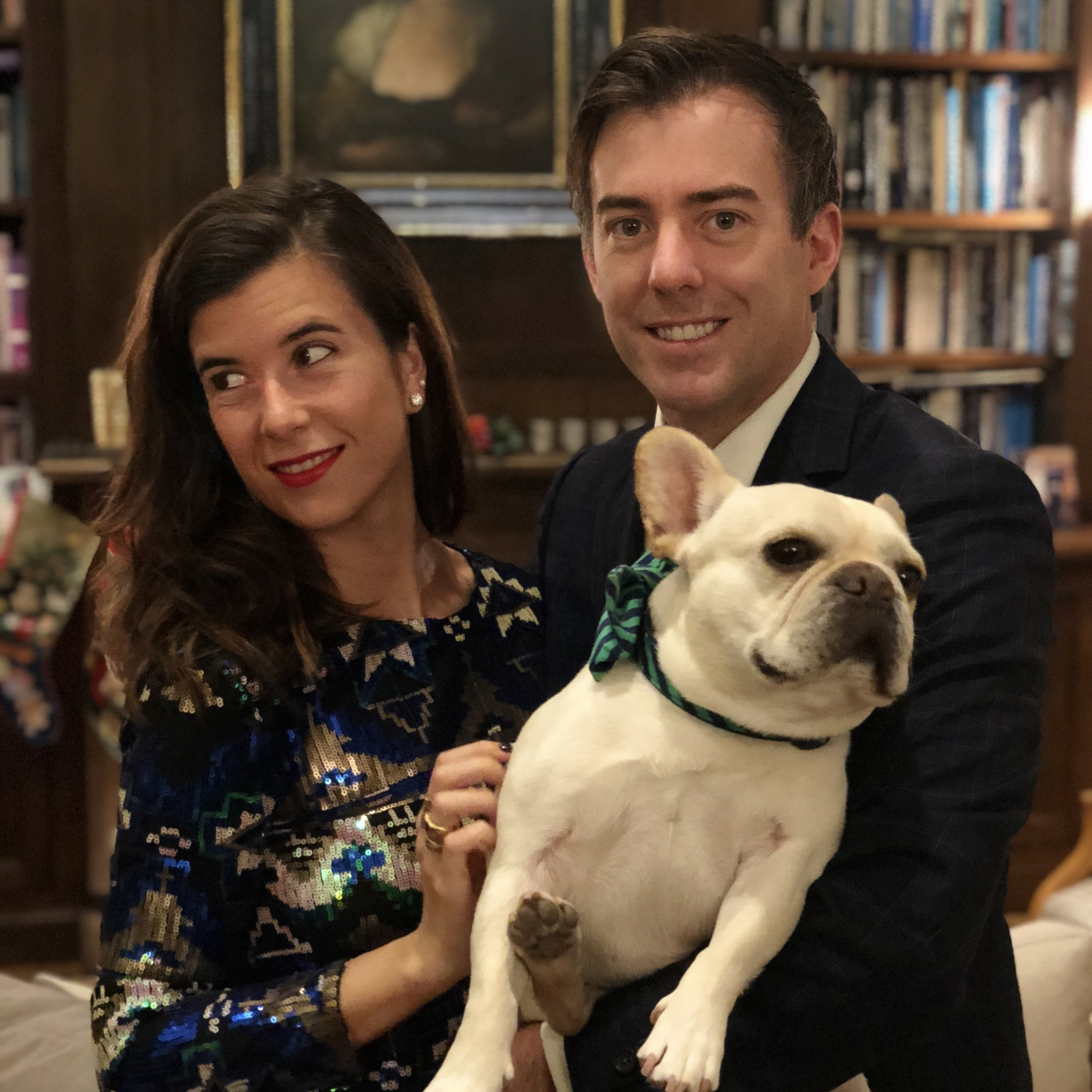 Mirta with her husband and her Frenchie