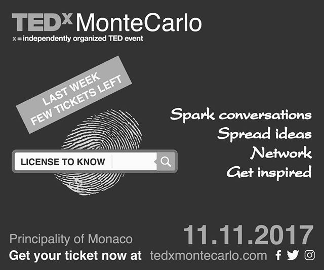 Last chance to get your tickets! The countdown is on #TEDxMonteCarlo