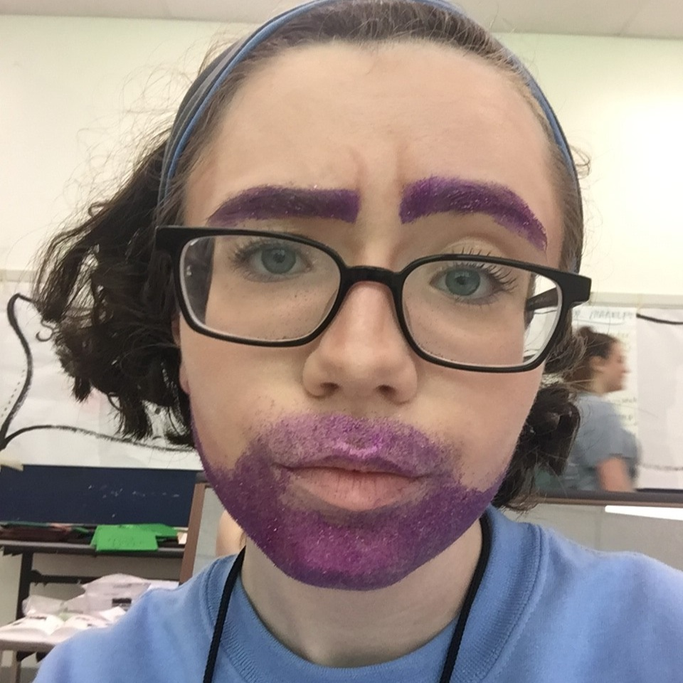 Glitter beard and eyebrows in Character Makeup class.