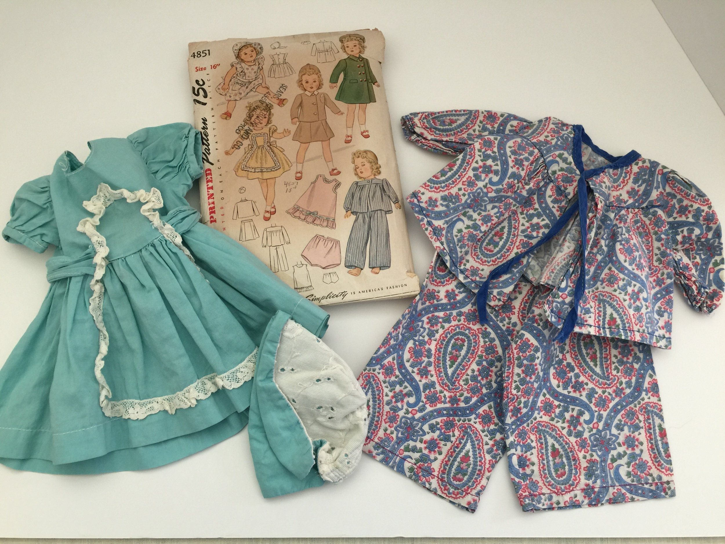 I collected this copy of the old pattern that I am sure was the one my mother used to make this dress with matching panties and hat and also paisley pajamas.