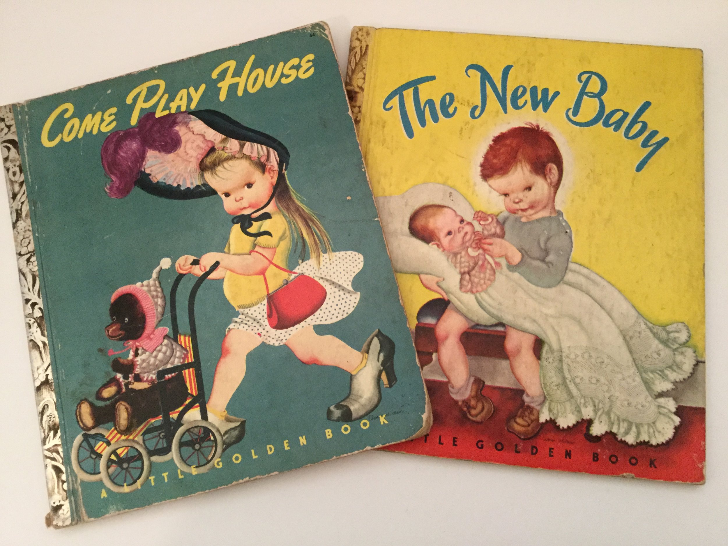 These are two Little Golden Books that are vivid in my memory.  While trying to find a copy of The New Baby I began a whole new collection of vintage Golden Books that will soon be a topic on this blog.