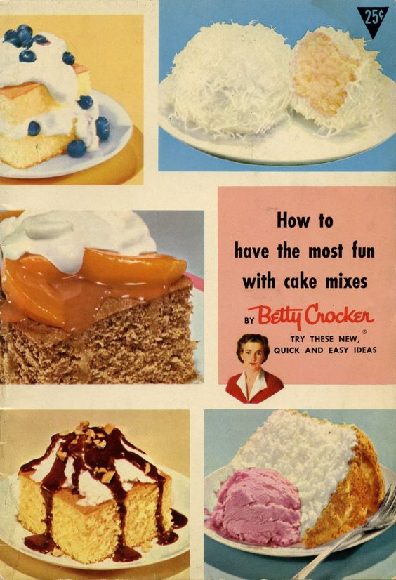 1950s How to Have the Most Fun with Cake Mixes by Betty Crocker ... Cake mixes were introduced and like a lot of new food products of the 1950s it was all about spending less time in the kitchen. The Lemon Jello Cake became a favorite.