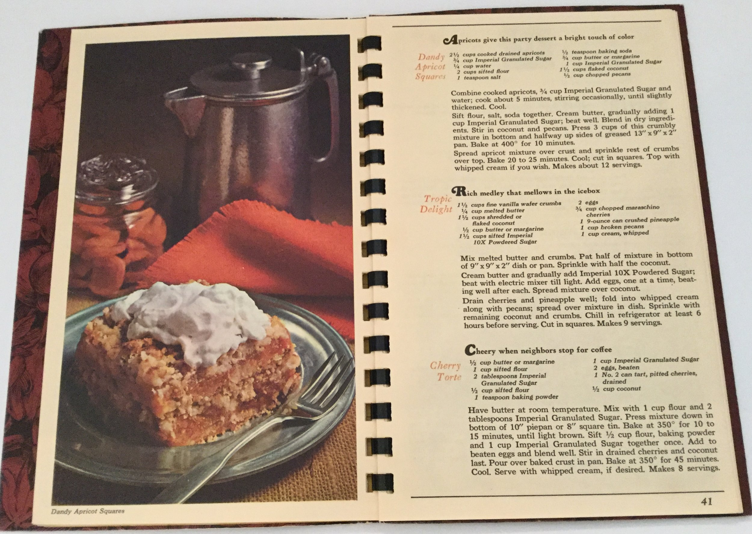 Dainty Apricot Squares ... 125th Imperial Anniversary booklet ... a great recipe but don't try to substitute apricot preserves for the dried apricots