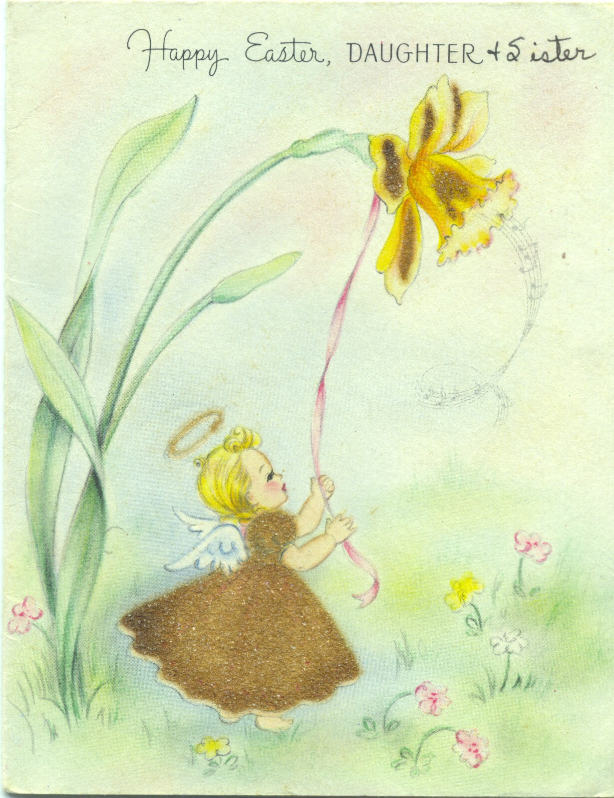 A 1945 Hallmark card to my mother from her mother and sister ... the brown skirt is fuzzy