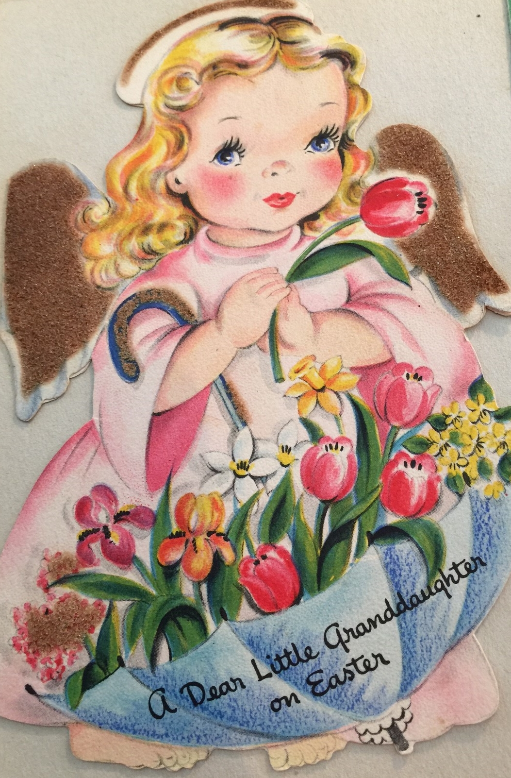 Easter card from my maternal grandmother found in my baby book ... fuzzy brown wings