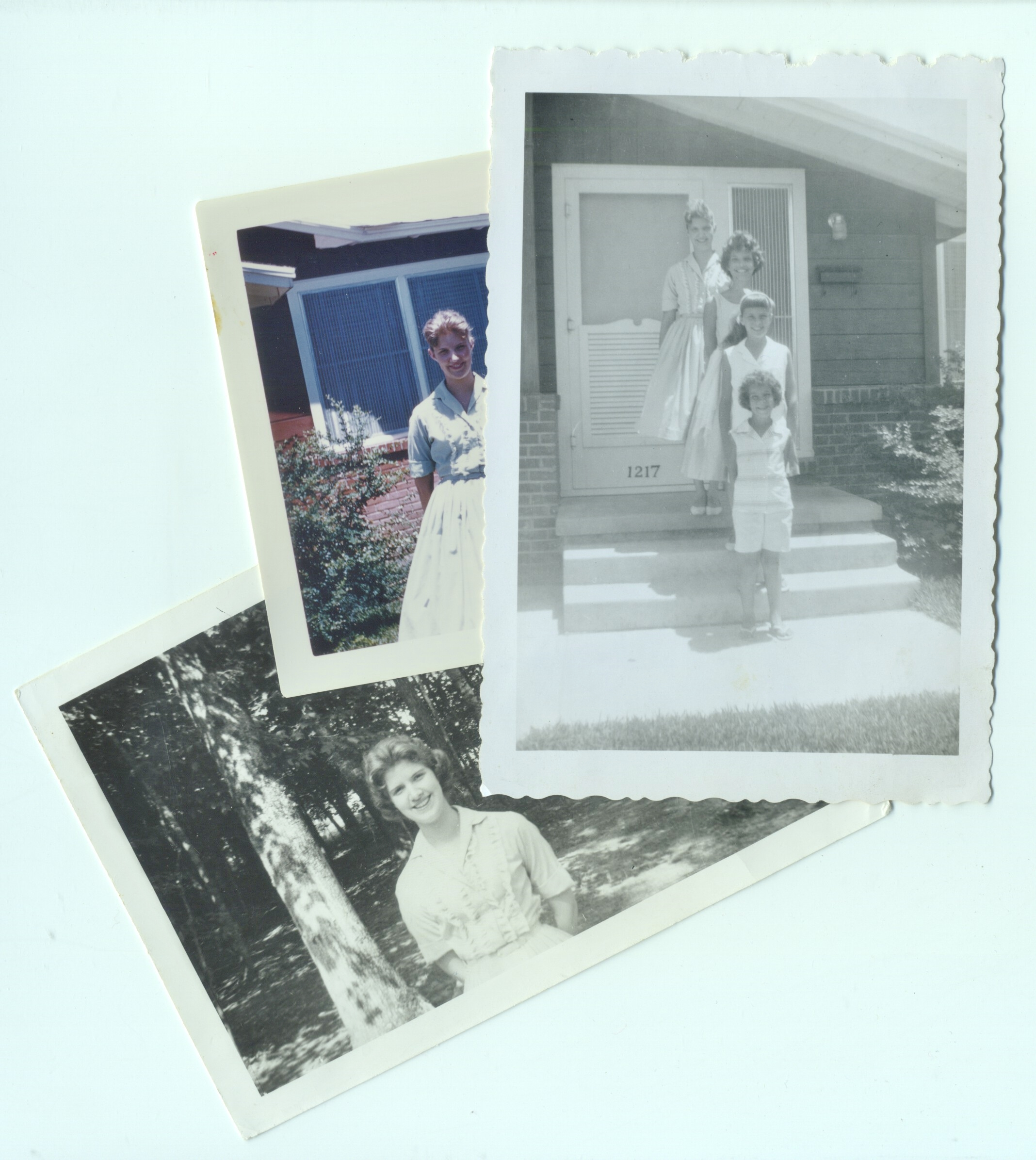 Three photos of me wearing my mint green shirtwaist 1957 Easter dress ... the top two photos were taken in 1958 ... on the stairs I am with my sister and cousins ... the bottom photo was taken in 1960