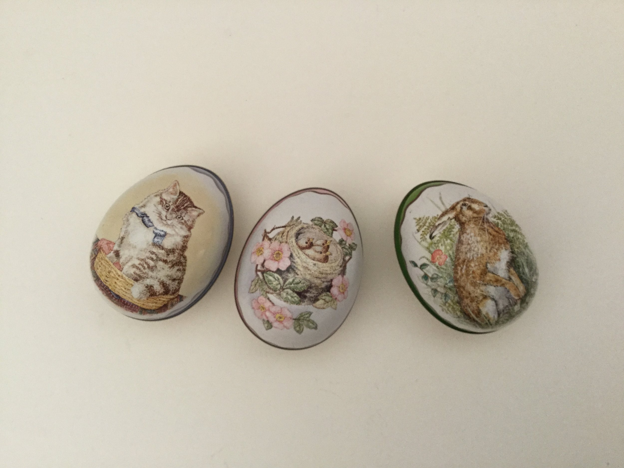 Three pretty tin eggs ... one for each daughter's Easter basket