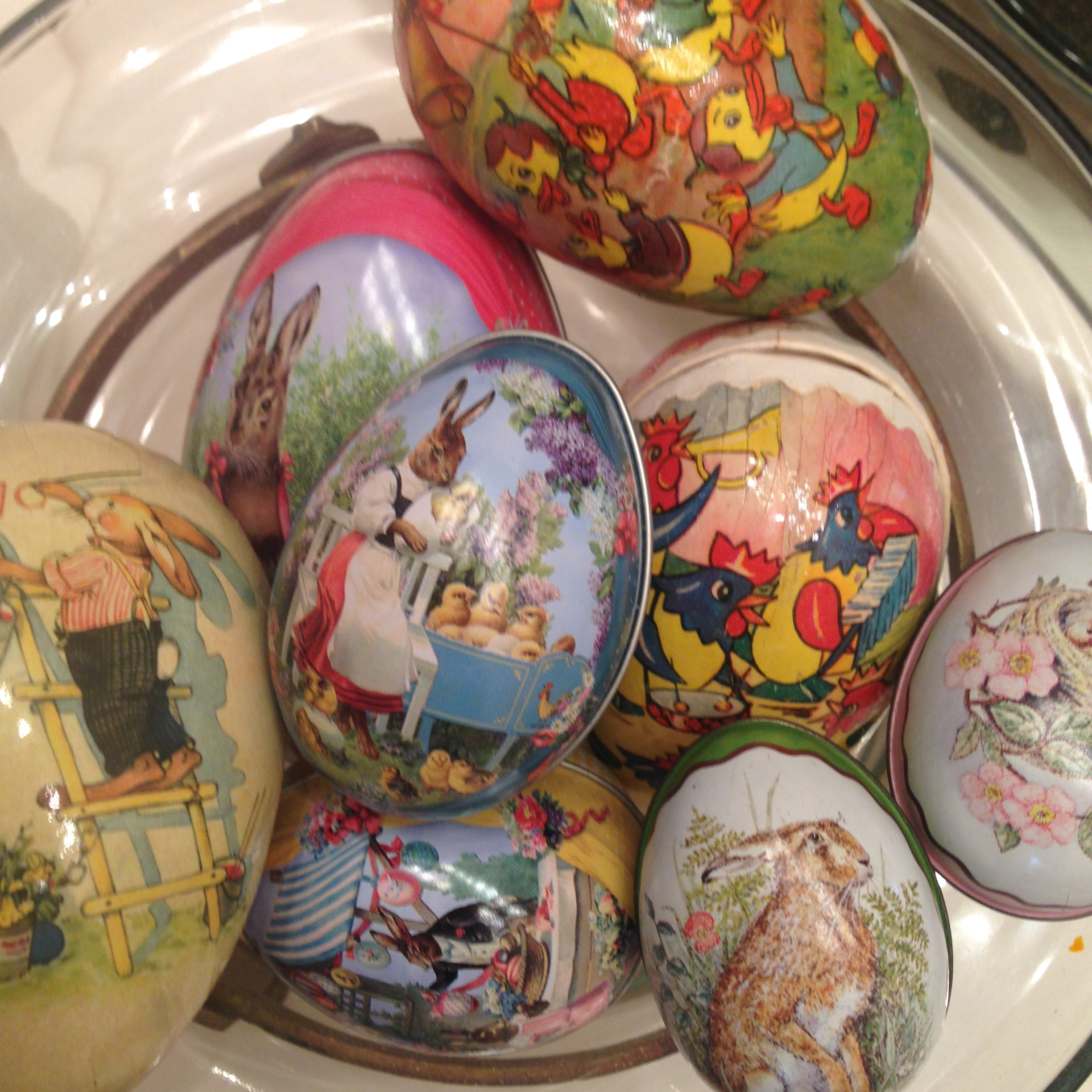 A bowl of collected Easter eggs