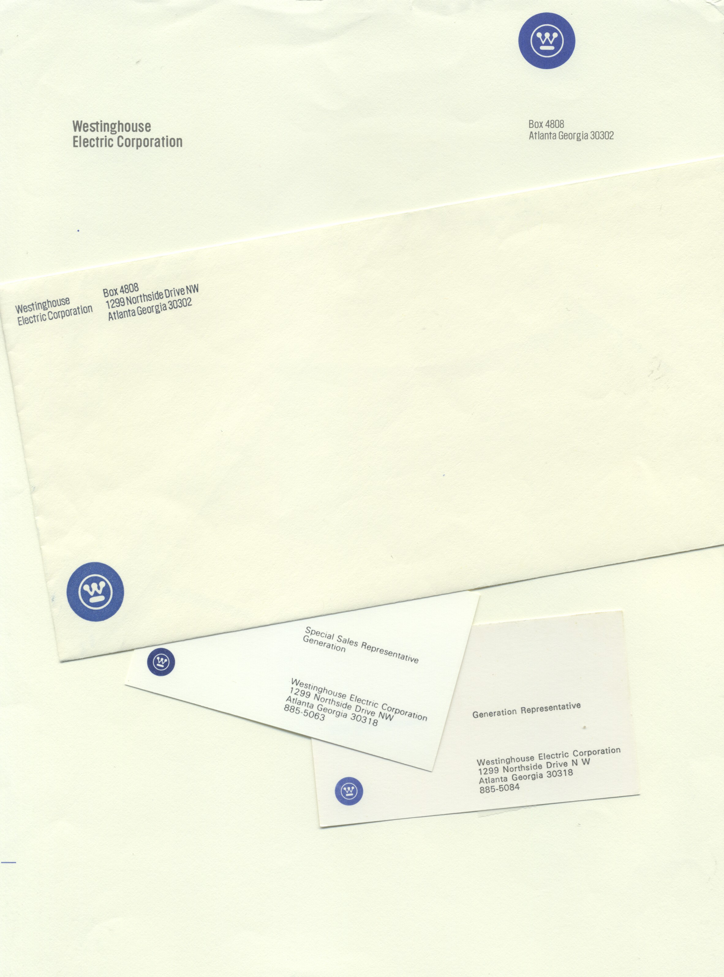 Westinghouse stationery and my dad's business cards