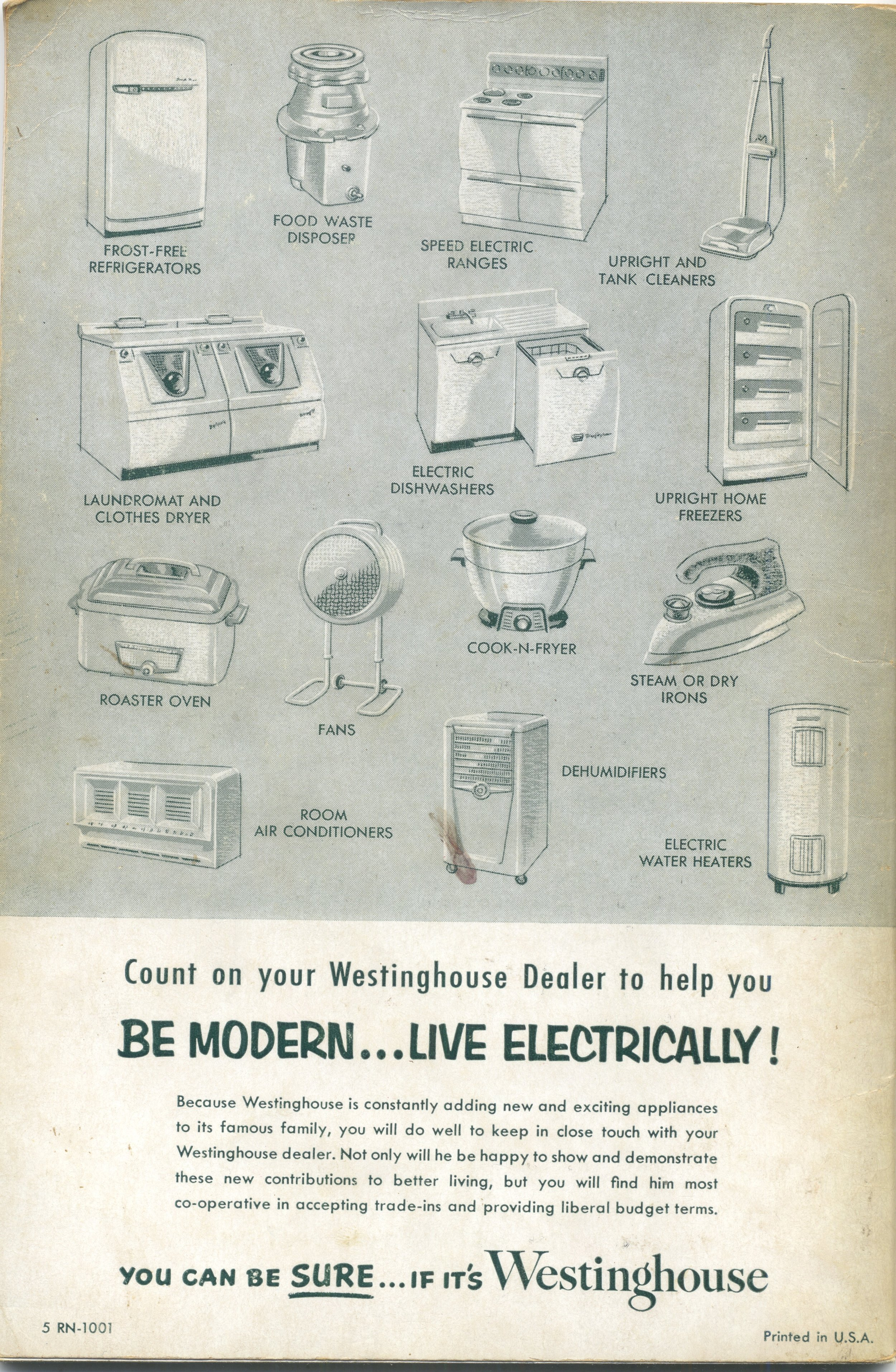 Interesting array of current Westinghouse appliances on the back of the 1954 range booklet