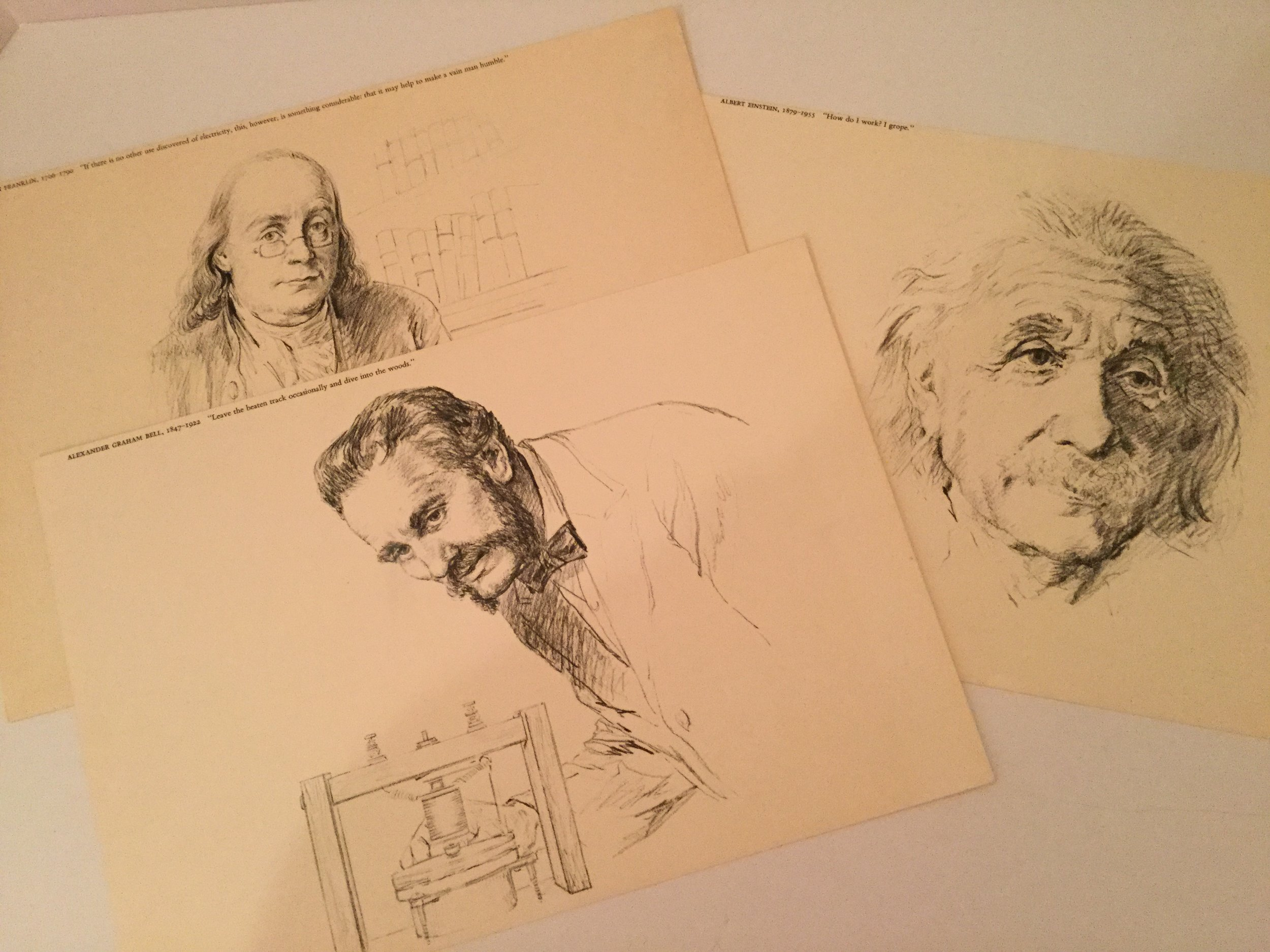 Three sketches from the 1964 calendar ... great for use by a school teacher.