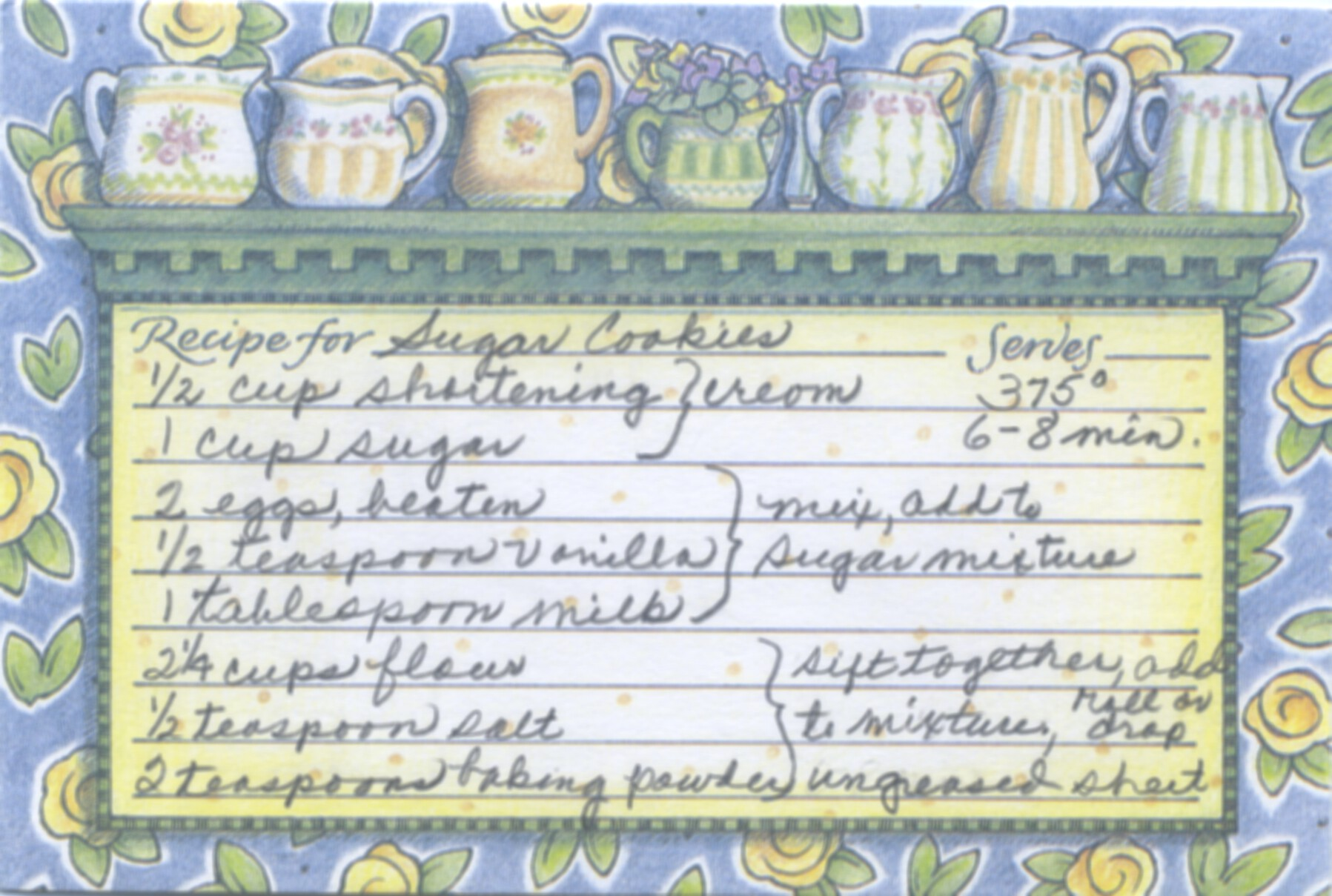 This is my sugar cookie recipe. In the late 1950s I did baby sitting for our preacher's family who were good friends of my parents. Occasionally homemade sugar cookies were left as a treat for the children and me. My original copy of this recipe went into my pink recipe box in the late 1950s.