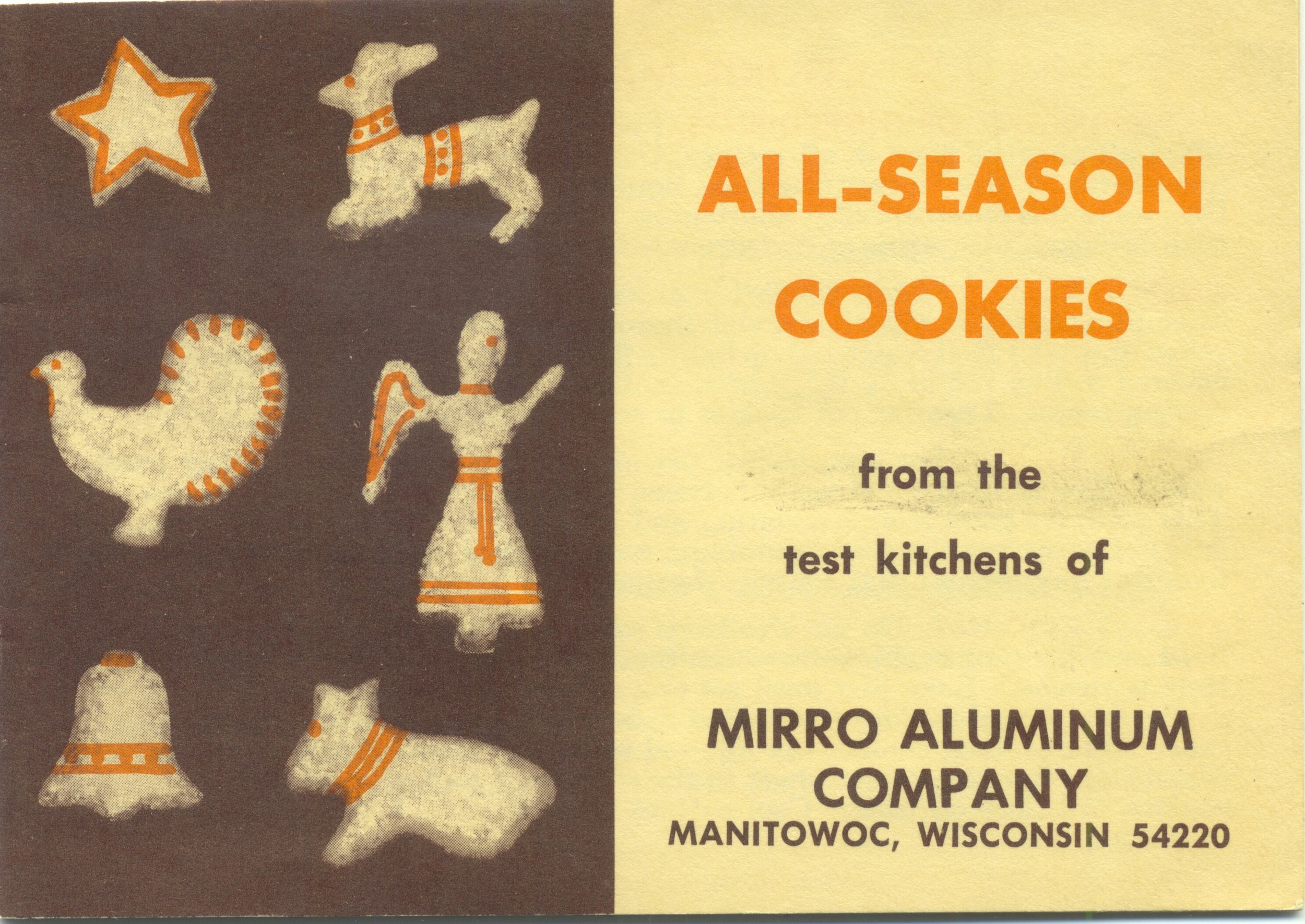 All-Season Cookies booklet from the test kitchens of the Mirro Aluminum Company, maker of most of the cookie cutters