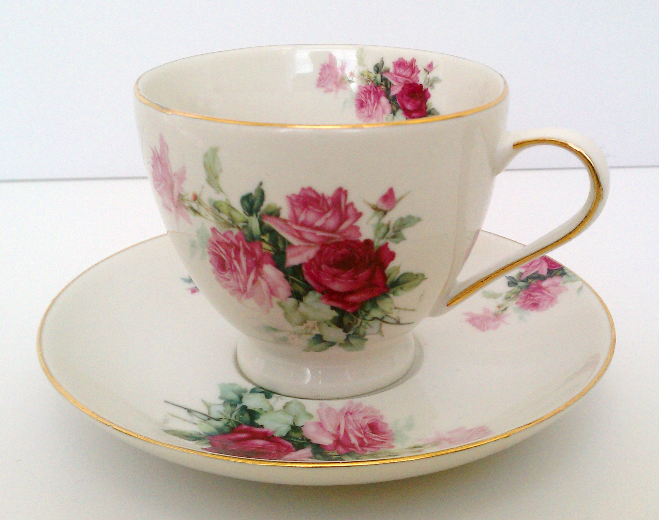 Pretty unmarked rose cup and saucer