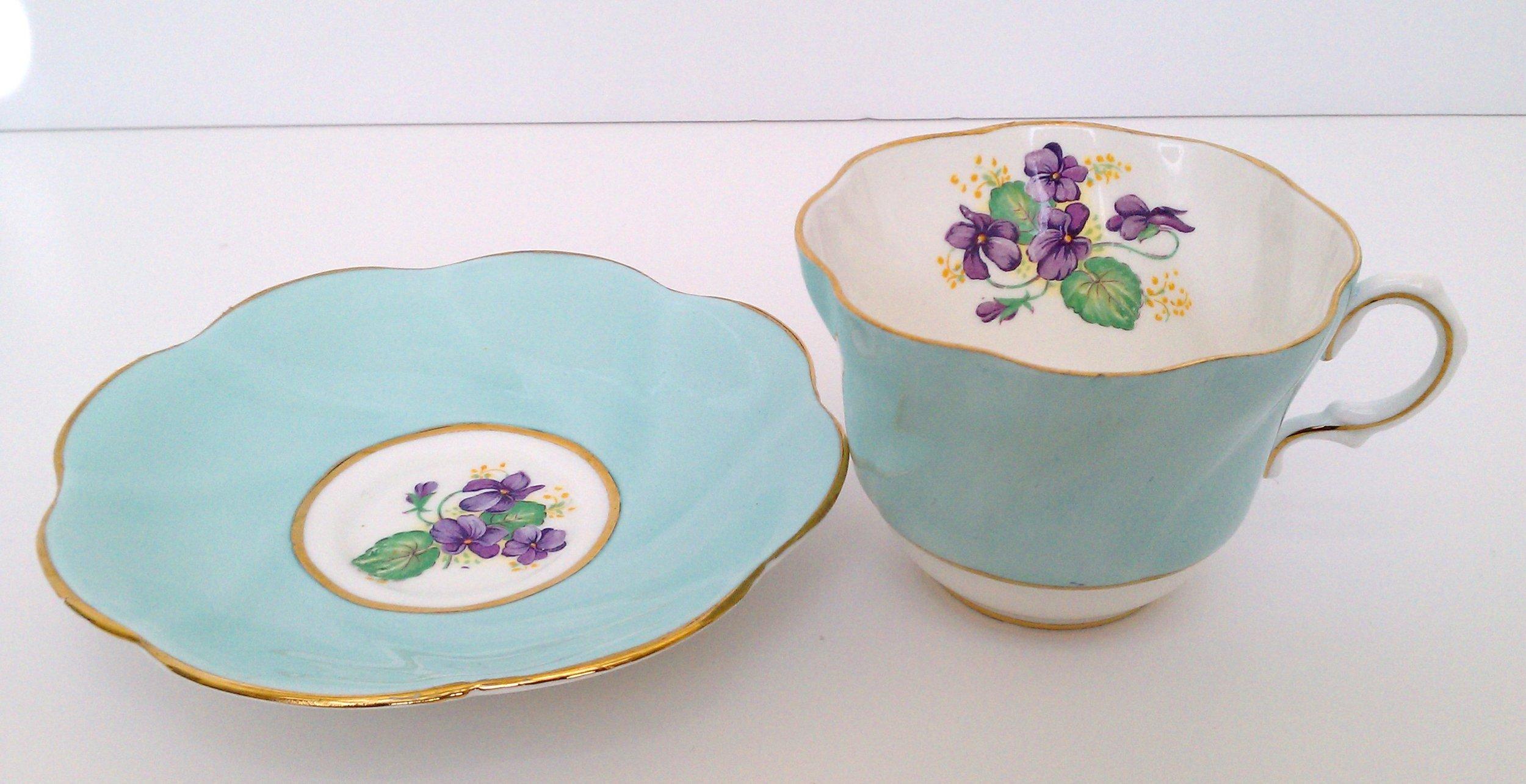 Royal Taunton China ... bone china made in England ... violets pattern