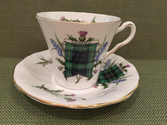 Adderly China tartan cup and saucer ... made in England