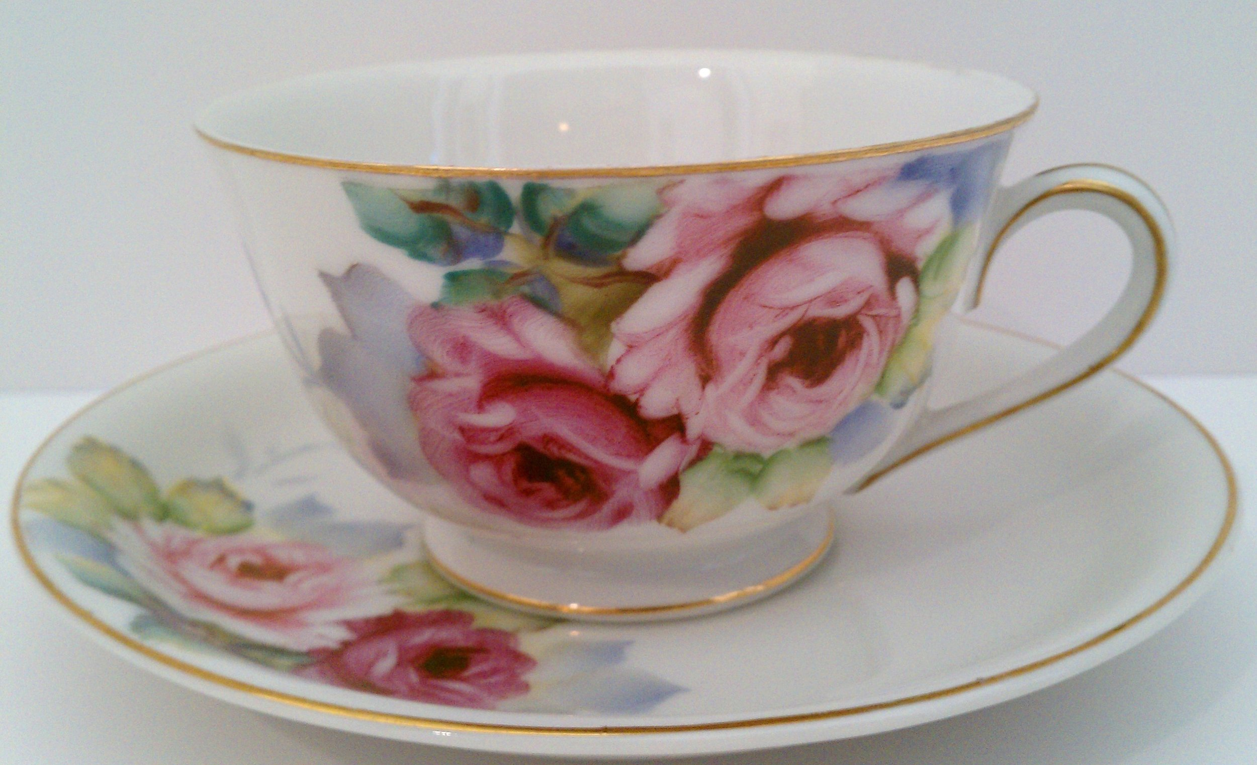 Pink roses cup and saucer by Noritake