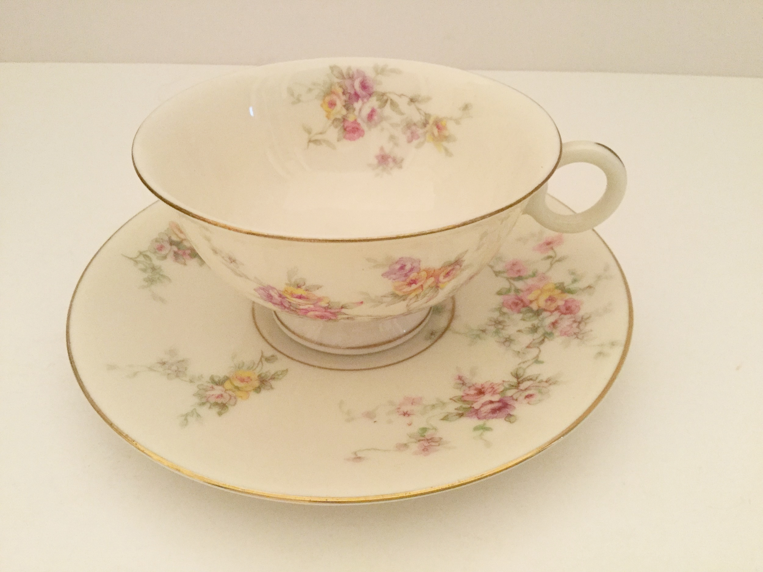 A collected cup and saucer from my maternal grandmother's pattern ... Haviland New York, Gloria, probably from the 1950s