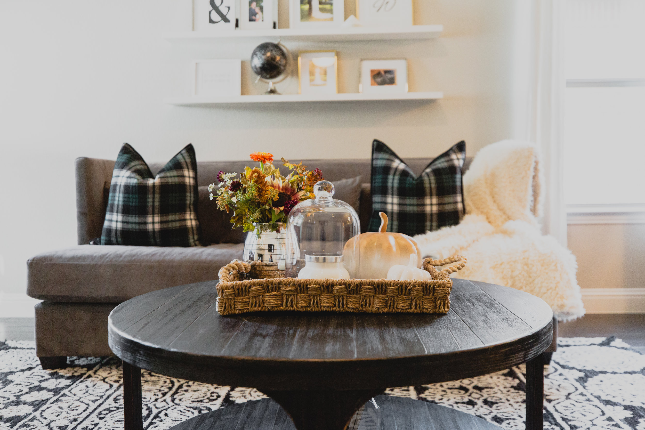 Fall Decor with Plaid and Faux Fur