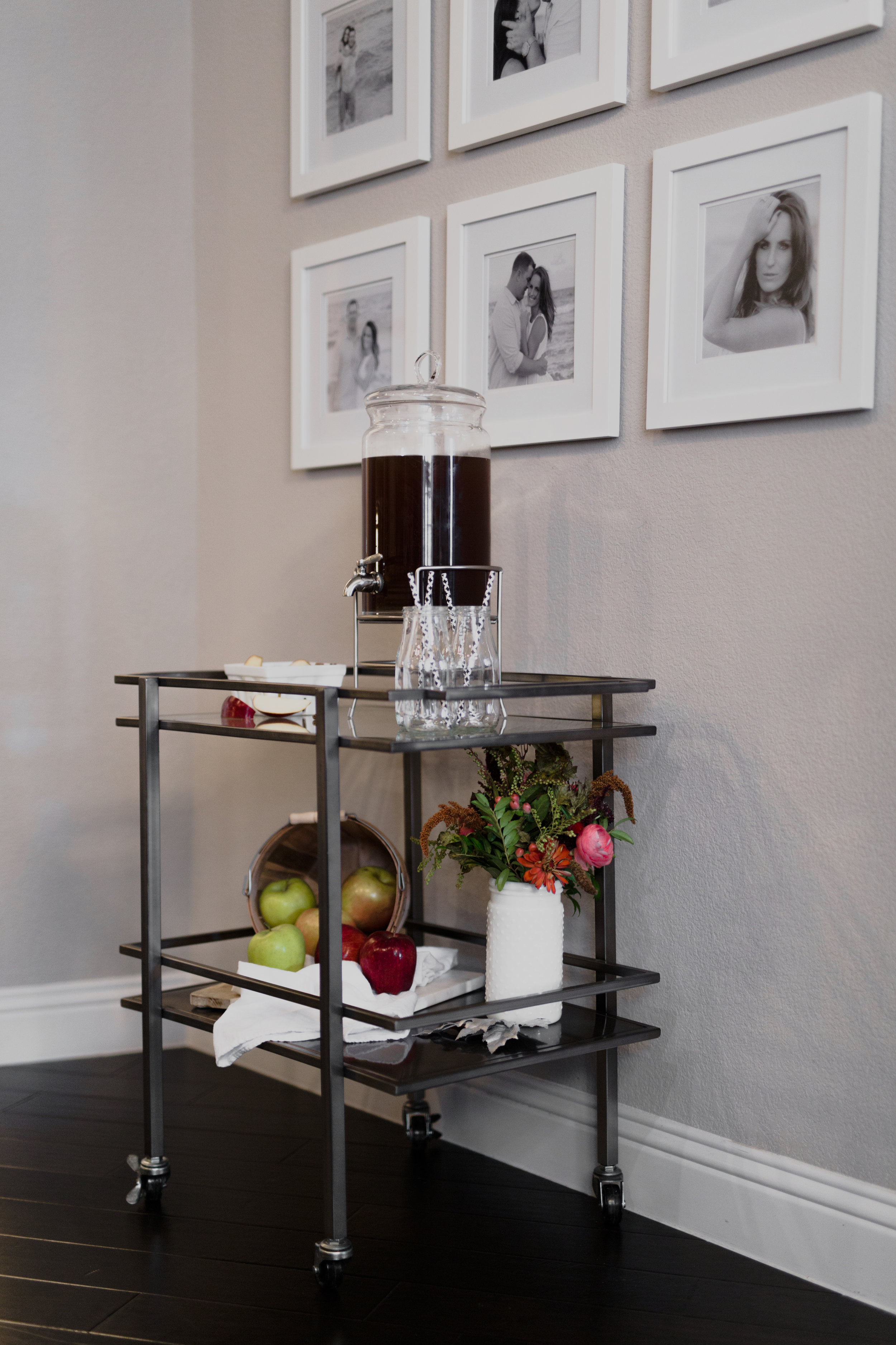 Fall Bar Cart with an Apple Cider Recipe