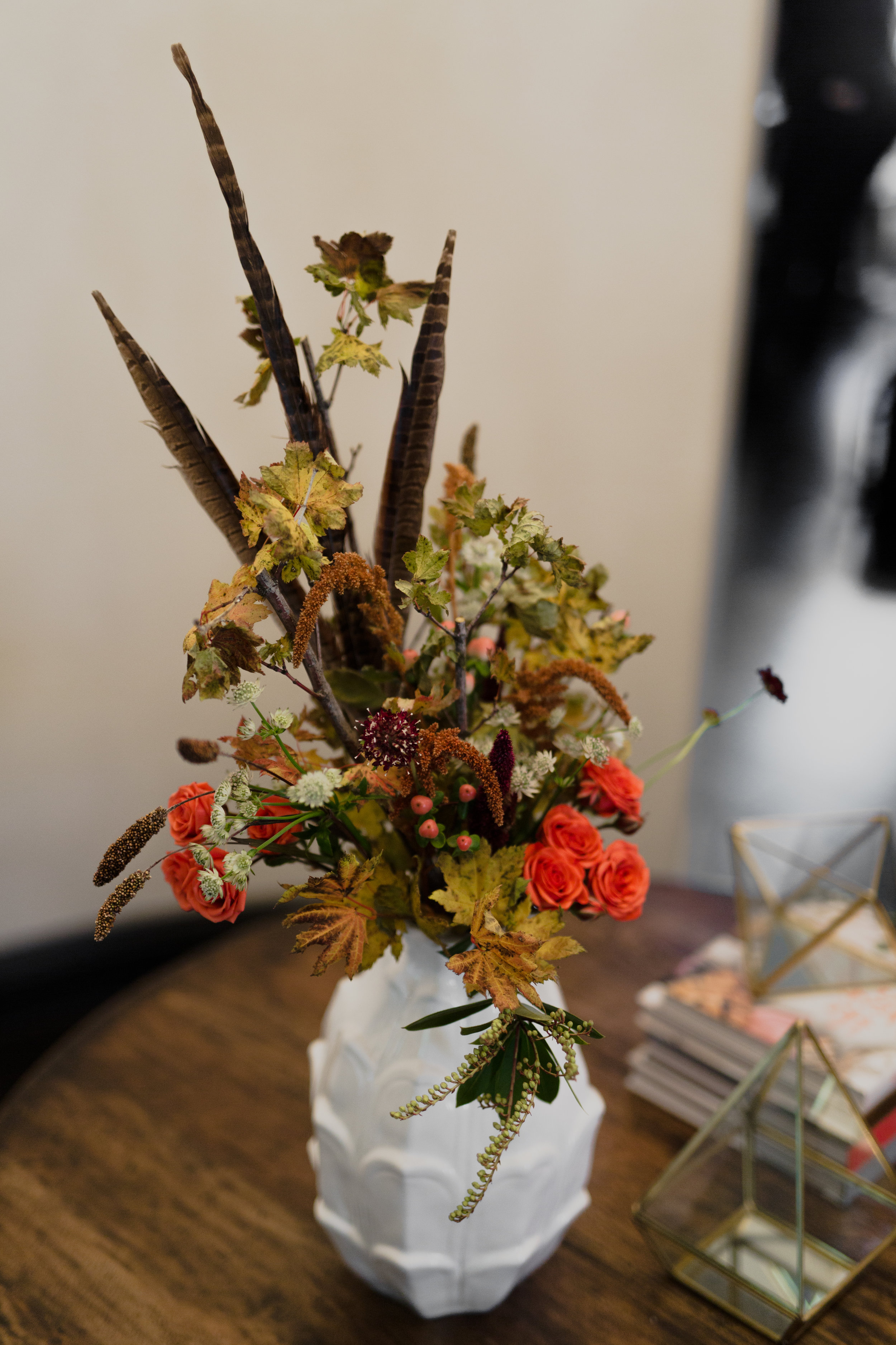 Fall Floral Arrangement with Feathers