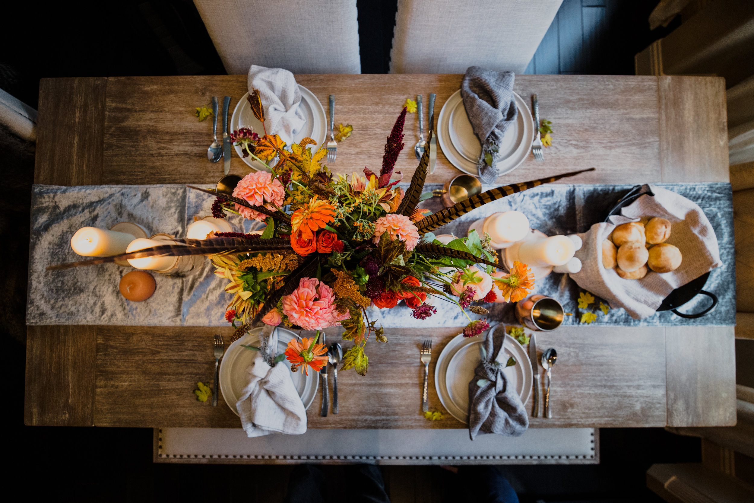 Fall Tablescape with Birchwood and Pumpkin Centerpiece