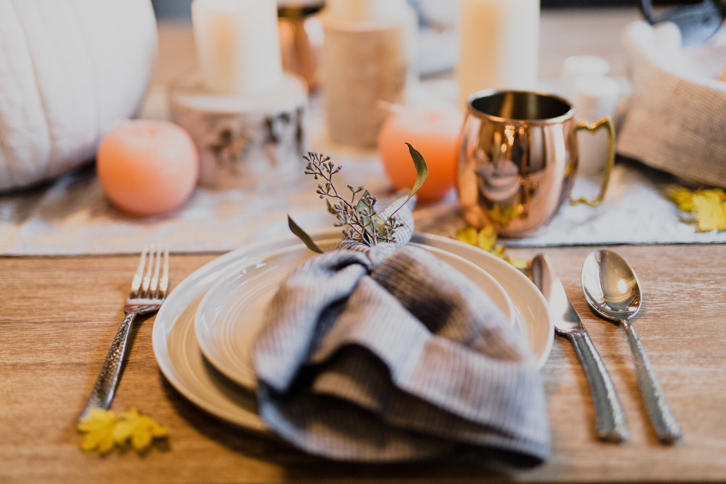 Fall Place Setting with Copper Mugs and Eucalyptus