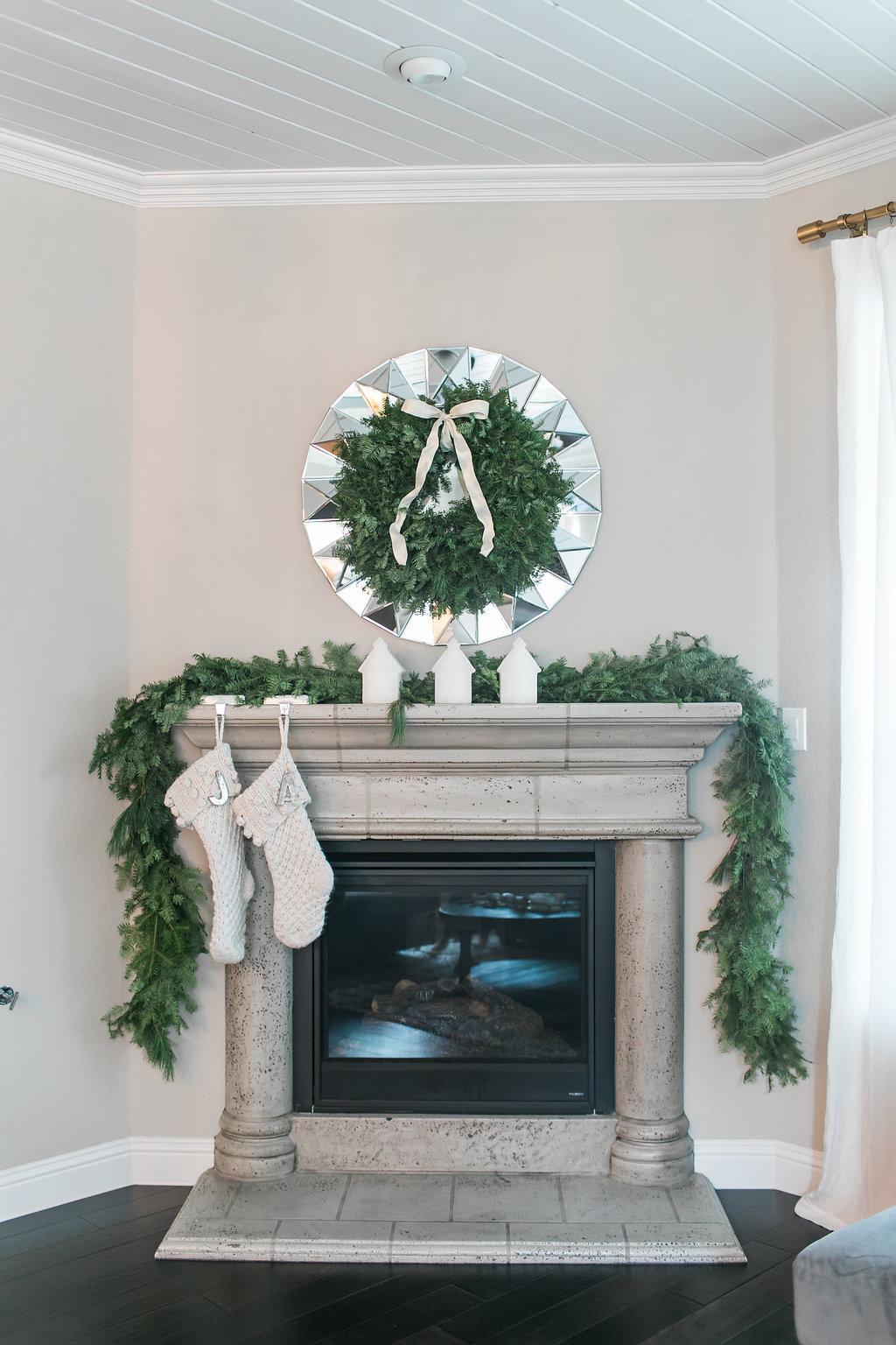 Neutral Christmas Mantel Decor