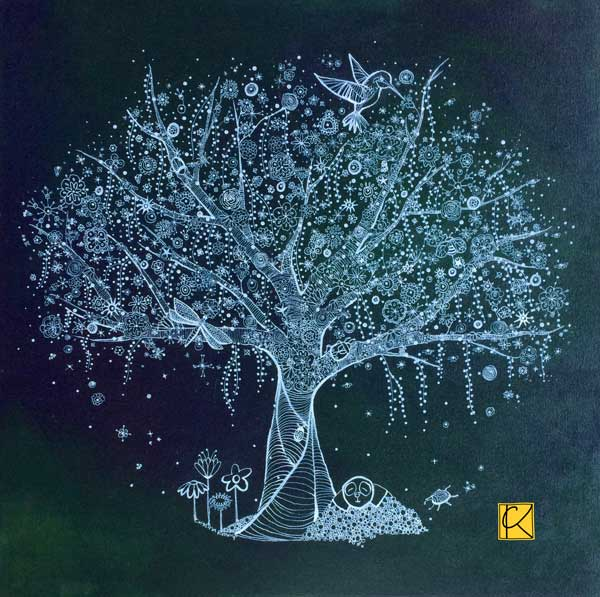 20x20 acrylic on canvas, a tree for a nature loving family
