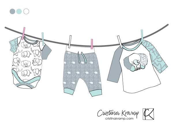 mock up for baby apparel of elephant patterns