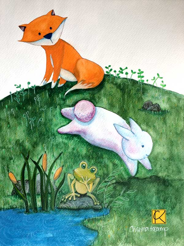 Fox, bunny, and frog