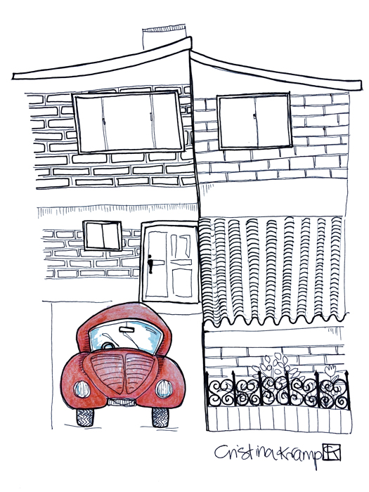 8.5x11 in pen and color pencil illustration, my house growing up