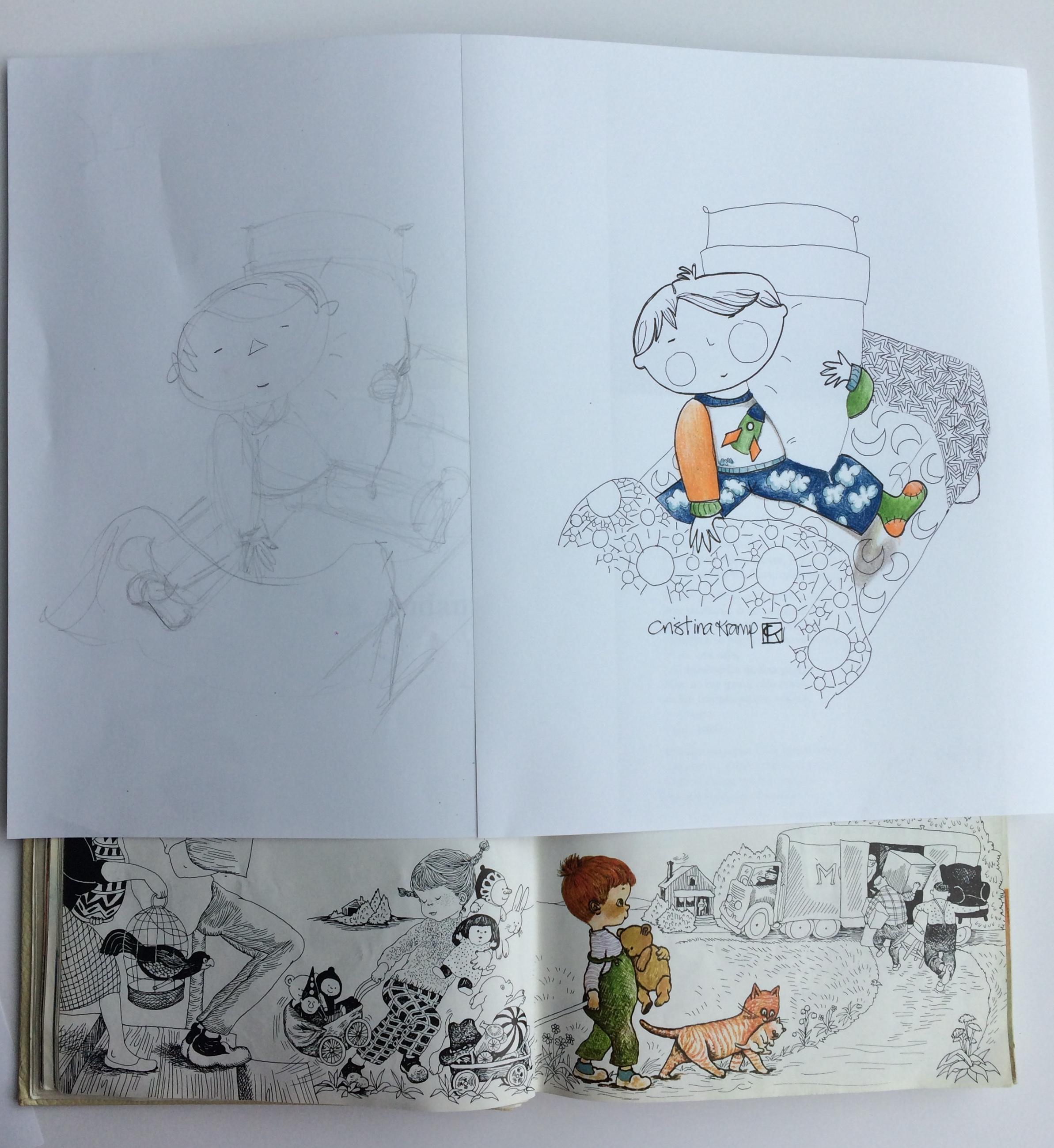 sketch, final & inspiration