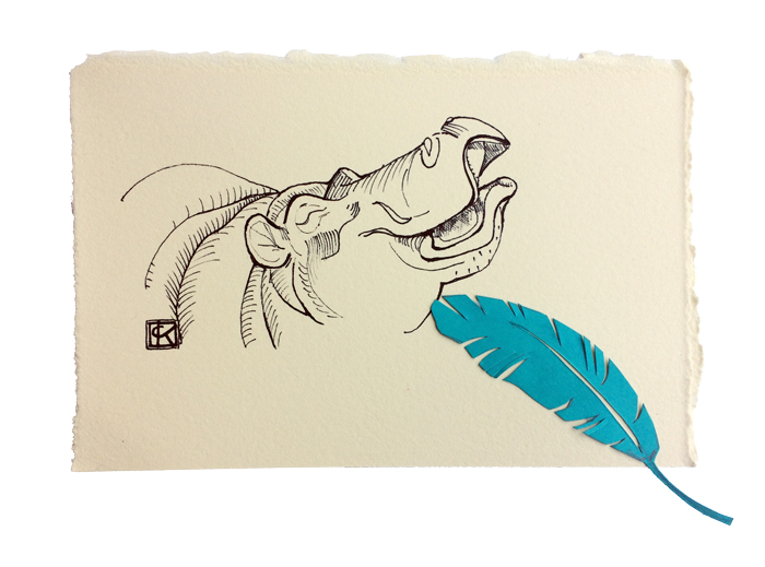 4x6 in ink on paper + cut paper feather