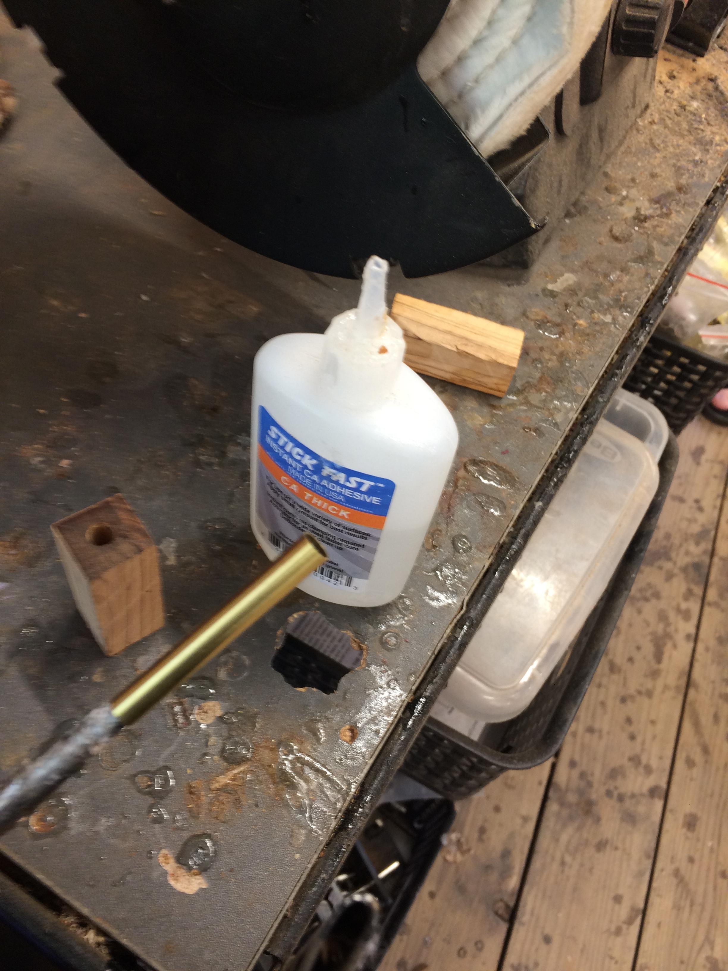 glue the metal barrel